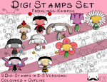 Digitaler Stempel Set, Digi Stamps Set Frühlings-Knirpse , 2 Versionen: Outlines, in Farbe