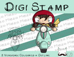Digitaler Stempel, Digi Stamp Rollerfahrerin, 2 Versionen: Outlines, in Farbe