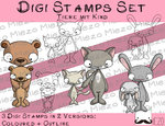 Set Digitale Stempel, Digi Stamps Tiere mit Kind, je 2 Versionen: Outlines, in Farbe