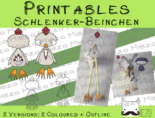 Digitaler Stempel, Digi Stamp Schlenker-Beinchen Huhn, 2 Versionen: Outlines, in Farbe