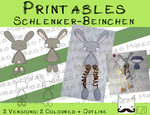 Digitaler Stempel, Digi Stamp Schlenker-Beinchen Hase, 2 Versionen: Outlines, in Farbe