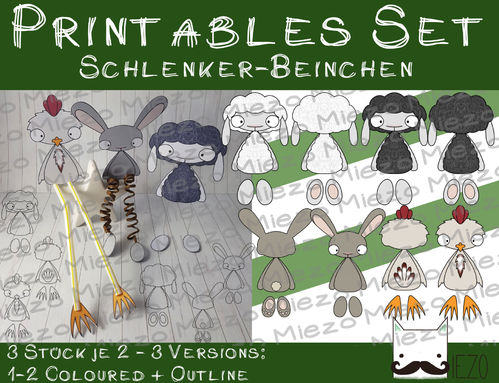 Set Digi Stamps Schlenker-Beinchen Schafe, Hase, Huhn, je 2 Versionen: Outlines, in Farbe