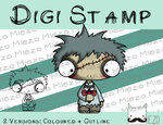 Digitaler Stempel, Digi Stamp Zombie-Knirps mit Fledermaus, 2 Versionen: Outlines, in Farbe