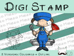 Digitaler Stempel, Digi Stamp Klempner, 2 Versionen: Outlines, in Farbe