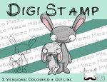 Digitaler Stempel, Digi Stamp Hase mit Kind, 2 Versionen: Outlines, in Farbe