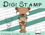 Digitaler Stempel, Digi Stamp Bär mit Kind, 2 Versionen: Outlines, in Farbe