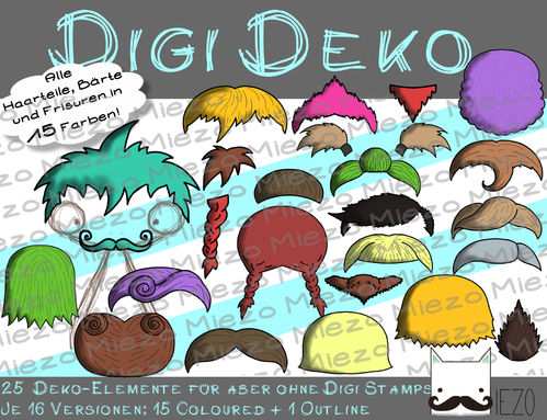 Digi Deko Frisuren, Bärte, Accessoires für Digistamps , je 16 Versionen: Outlines, 15 in Farbe