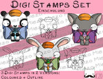 Digitale Stempel Set, Digi Stamps Set Einschulungsknirpse, je 2 Versionen: Outlines, in Farbe