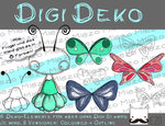 Digi Deko Fee/Elfe, Accessoires für Digistamps , je 9 Versionen: Outlines, 8 in Farbe
