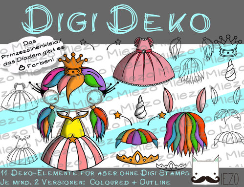 Digi Deko Fantasy, Accessoires für Digistamps , je mind. 2 Versionen: Outlines,(1- 8) in Farbe