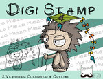 Digitaler Stempel, Digi Stamp Knirps Igel mit Drache, 2 Versionen: Outlines, in Farbe