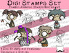 Set Digitale Stempel, Digi Stamps Zombie-Knirpse, je 2 Versionen: Outlines, in Farbe