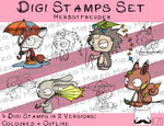Set Digitale Stempel, Digi Stamps Herbstfreuden, 2 Versionen: Outlines, in Farbe