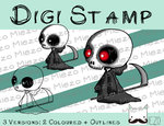 Digitaler Stempel, Digi Stamp Knirps Sensenmann, 3 Versionen: Outlines, 2 in Farbe