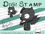 Digitaler Stempel, Digi Stamp Knirps Fledermaus, 3 Versionen: Outlines, 2 in Farbe