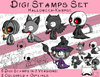 Set Digitale Stempel, Digi Stamps Halloween Knirpse ,je 3 Versionen: Outlines, 2 in Farbe