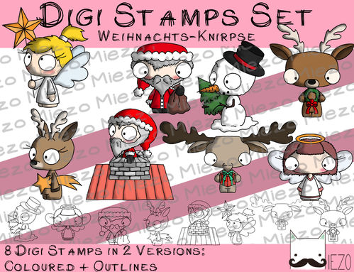 Digi Stamps Set Weihnachts-Knirpse, je 2 Versionen: Outlines, in Farbe