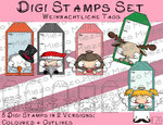 Set Digitale Stempel, Digi Stamps Tags/Anhänger, je 2 Versionen: Outlines, in Farbe