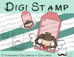 Digitaler Stempel, Digi Stamp Tag/Anhänger Engel braun, 2 Versionen: Outlines, in Farbe