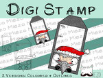 Digitaler Stempel, Digi Stamp Tag/Anhänger Nikolaus, 2 Versionen: Outlines, in Farbe
