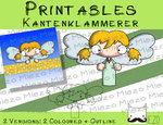 Printables Kantenklammerer Engel blond, 2 Versionen: Outlines, in Farbe
