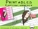 Printables Kantenklammerer Engel braun, 2 Versionen: Outlines, in Farbe