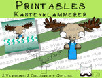 Printables Kantenklammerer Elch, 2 Versionen: Outlines, in Farbe