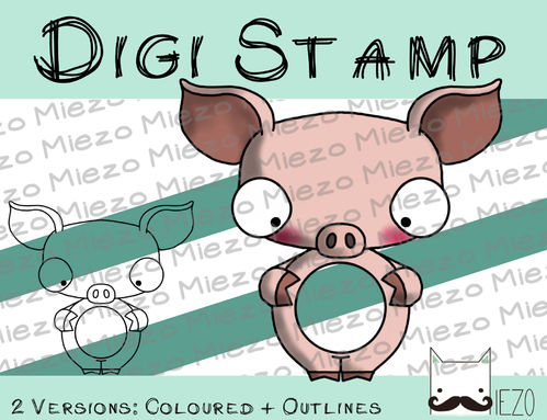 Digitaler Stempel, Digi Stamp Kugelknirps, Schwein 2 Versionen: Outlines, in Farbe