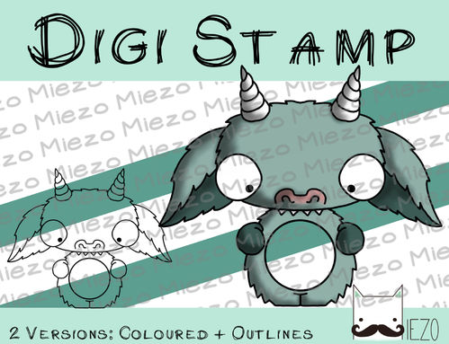 Digitaler Stempel, Digi Stamp Kugelknirps Monster, 2 Versionen: Outlines, in Farbe