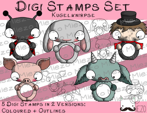 Digitale Stempel Set, Digi Stamps Kugelknirpse, je 2 Versionen: Outlines, in Farbe