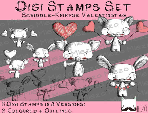 Set Digitale Stempel, Digi Stamps Scribble-Knirpse Valentinstag, je 3Versionen: Outlines, 2 in Farbe