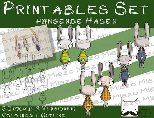 Set Printable hängende Hasen, 2 Versionen: Outlines, in Farbe