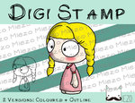 Digitaler Stempel, Digi Stamp Gretel (Kasperltheater), 2 Versionen: Outlines, in Farbe