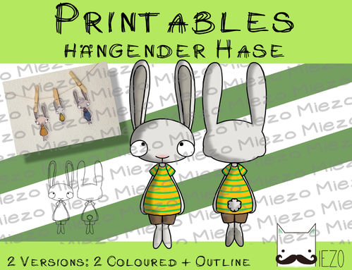 Printable hängender Hase im Shirt, 2 Versionen: Outlines, in Farbe