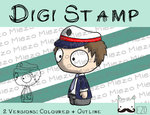Digitaler Stempel, Digi Stamp Polizist(Kasperltheater), 2 Versionen: Outlines, in Farbe