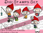 Set Digitale Stempel, Digi Stamps Gartenzwerge, je 2 Versionen: Outlines, in Farbe