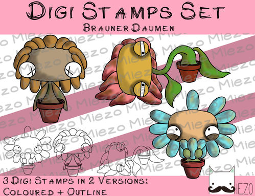 Set Digitale Stempel, Digi Stamps brauner Daumen, je 2 Versionen: Outlines, in Farbe