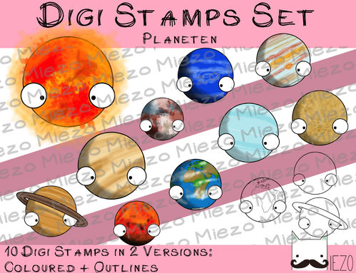 Digitale Stempel, Digi Stamps Set Planeten,  je 2 Versionen: Outlines, in Farbe