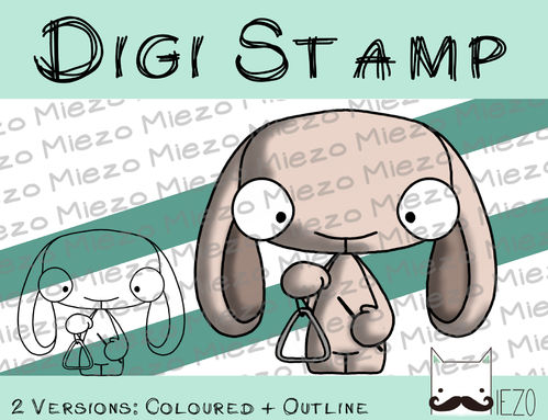 Digitaler Stempel, Digi Stamp Bandhase/Musiker mit Triangel, 2 Versionen: Outlines, in Farbe