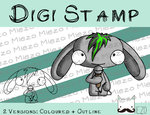 Digitaler Stempel, Digi Stamp Bandhase/Musiker Sänger, 2 Versionen: Outlines, in Farbe