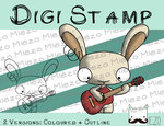 Digitaler Stempel, Digi Stamp Bandhase/Musiker Gitarre, 2 Versionen: Outlines, in Farbe