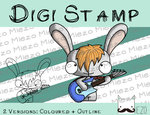 Digitaler Stempel, Digi Stamp Bandhase/Musiker Bassgitarre, 2 Versionen: Outlines, in Farbe