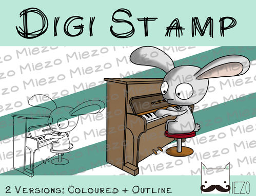 Digitaler Stempel, Digi Stamp Bandhase/Musiker am Klavier, 2 Versionen: Outlines, in Farbe
