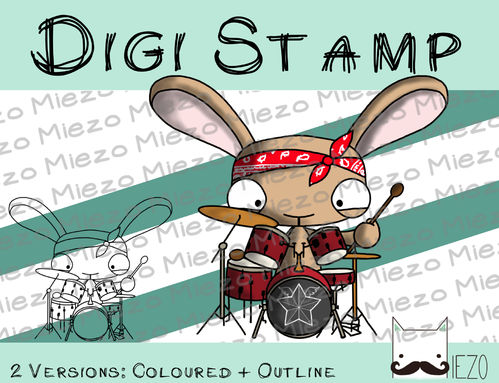 Digitaler Stempel, Digi Stamp Bandhase/Musiker am Schlagzeug, 2 Versionen: Outlines, in Farbe