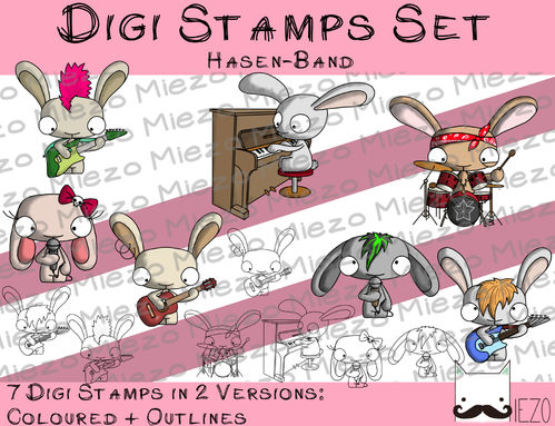 Set Digitale Stempel, Digi Stamp Hasenband/Musiker, je 2 Versionen: Outlines, in Farbe