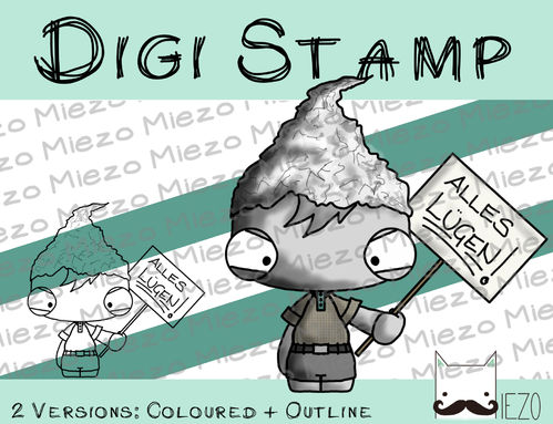 Digitaler Stempel, Digi Stamp Aluhutträger, 2 Versionen: Outlines, in Farbe