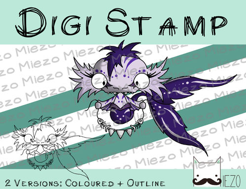 Digitaler Stempel, Digi Stamp Wasserdämon lila, 2 Versionen: Outlines, in Farbe