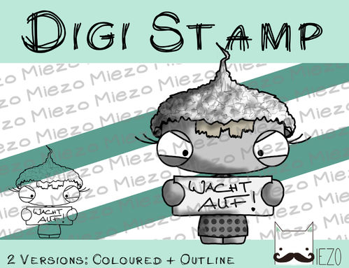 Digitaler Stempel, Digi Stamp Aluhutträgerin, 2 Versionen: Outlines, in Farbe
