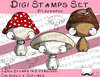 Set Digitale Stempel, Digi Stamps Pilzknirpse, je 2 Versionen: Outlines, in Farbe
