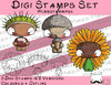 Set Digitale Stempel, Digi Stamp sHerbstknirpse, je 2 Versionen: Outlines, in Farbe